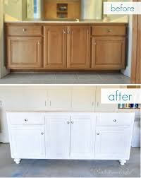 Bathroom Consoles And Vanities Add A New Base And Furniture Legs And Paint To Builder Grade