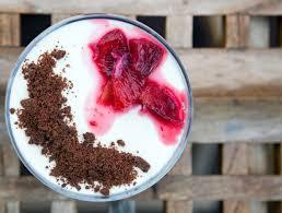 vanilla bean panna cotta with blood orange syrup and chocolate
