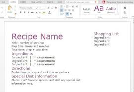 recipe with shopping list template for word