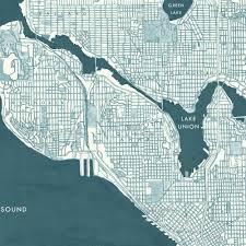 Seattle Washington Map Seattle Map Street Map Washington City Map Drawing Art Print