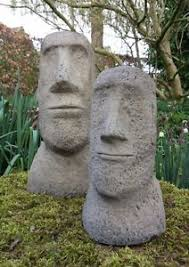 garden pair of moai easter island tiki ornaments