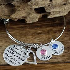 Personalized Bangle Bracelet Buy Personalized Silver Mother Daughter Bangle Charm Bracelet