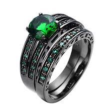 aliexpress buy mens rings black precious stones real gorgeous green jewelry women men ring set wedding band black