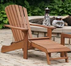 eucalyptus wood adirondack chair with built in ottoman
