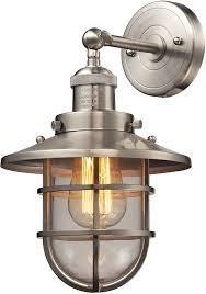 satin nickel light fixtures elk 66356 1 seaport nautical satin nickel lighting sconce elk 66356 1