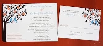 bird wedding invitations blue birds in orange and brown flowering tree wedding