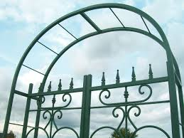 garden arbor with gate wrought iron home outdoor decoration