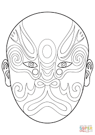 chinese opera mask 1 coloring page free printable coloring pages