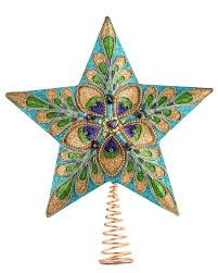 ornate peacock holiday star tree topper treetopia