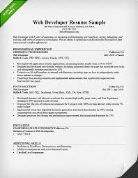 Professional Experience Resume Examples by Web Developer Resume Sample U0026 Writing Tips Rg