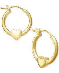 children s hoop earrings children s heart hoop earrings in 18k gold plated sterling silver