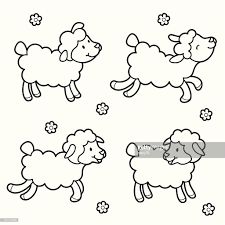 sheep coloring vector art getty images
