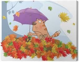 imagenes animadas de otoño cuadro en lienzo cat el otoño y la caída de dibujos animados hoja