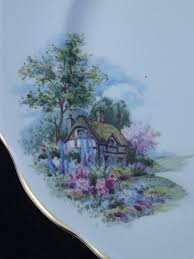english cottage vintage queen anne fine bone china plate england