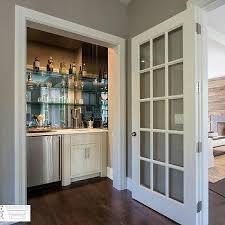 Wet Bar Nook With Glass Shelves On Mirrored Backsplash BAR - Mirrored backsplash