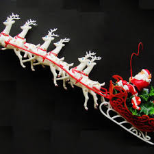 Christmas Decorations Santa Sleigh And Reindeer by Vintage Santa And Six Reindeer Sleigh From Old Like Us Vintage