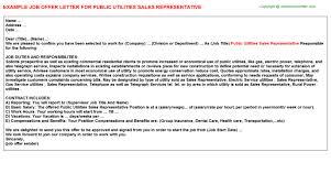 public utilities sales representative offer letter