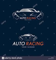 sports car logos auto racing symbol on dark blue background silver sport car logo