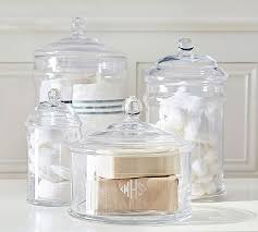 Bathroom Glass Storage Jars Pb Classic Glass Canister Pottery Barn