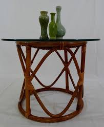 round rattan side table vintage bohemian rattan glass top round drum side table rattan