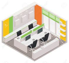 isometric office room icon royalty free cliparts vectors and