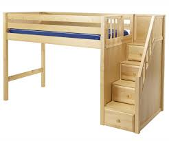 bedroom brown polished oak wood loft bunk bed with right