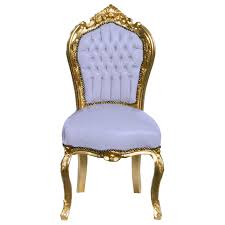 baroque dining room chair gold wood frame white leatherette