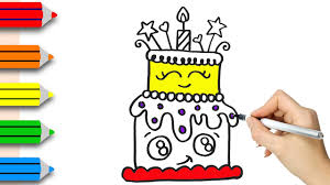 drawing birthday cake learn how to draw and color birthday cake