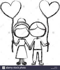 monochrome sketch of caricature faceless couple of boy and