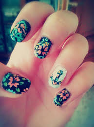 nail art flowers anchor forever colors nails cute paint