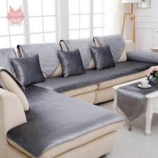 Discount Leather Sectional Sofas Free Shipping Grey Camel Black Velvet Sofa Cover Flannel Plush