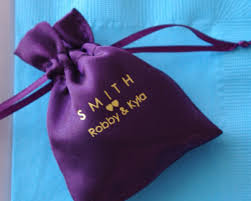 wedding favor bags monogram small satin favor bag