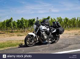 honda 600 motorcycle honda cbf 600 motorcycle loaded with luggage near weinzeilen