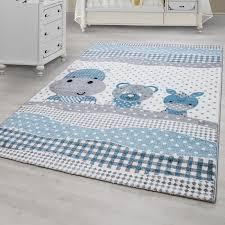 teppich f r kinderzimmer kinderteppich kinderzimmer teppich tiermotiv grau weiß blau