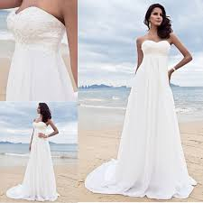 latest design beach style chiffon wedding dress for pregnant women