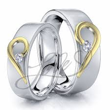 wedding band sets his and hers solid 014 carat 6mm matching heart his and hers diamond wedding