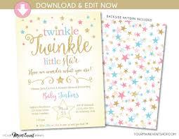 twinkle twinkle little star gender reveal invitation blue