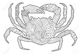 sea crab with high details antistress coloring page black