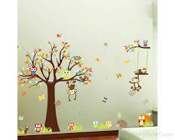 Monkey Nursery Wall Decals Zoo Wall Sticker For Nursery Squirrel Fox Owls Monkey Baby Nursery