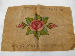 painted rose vintage hessian burlap hooked rug mat canvas to hook