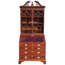 Secretary Desk Bookcase Dutch Marquetry Style Inlaid Double Bonnet Top Secretary Desk