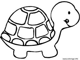 Coloriage animaux mignon tortue de profil  JeColoriecom