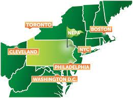 New York And Boston Map by Northeastern Pennsylvania Lackawanna Luzerne Monroe Schuylkill