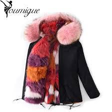 youmigue real fox fur lining green parka with big raccoon fur hood