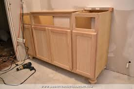 How To Build A Bathroom Vanity Furniture Style Bathroom Vanity Made From Stock Cabinets U2013 Part 1