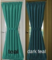 solid turquoise or teal french door curtain panels