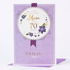 70th Birthday Cards 70th Birthday Card Mum Rosette Purple Only 1 49