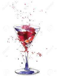 martini cherry artistic illustration of alcohol drink cocktail glass with cherry