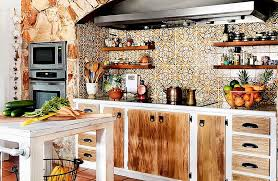 eclectic kitchen ideas small kitchen island and open shelves with rustic charm eclectic