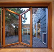 sliding glass door with doggie door deck doors deck beach style with folding glass doors indoor